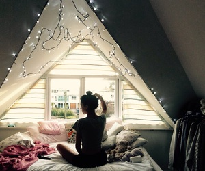 attic, fairy lights, and relax image