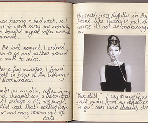 audrey hepburn, Breakfast at Tiffany's, and book image