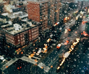 city, new york, and rainy day image