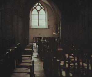 chairs, church, and dark image
