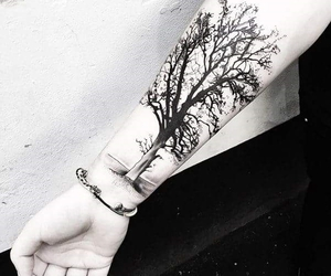 tattoo, tree, and black image
