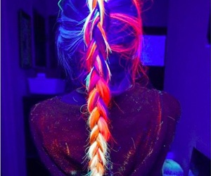 hair, neon, and colors image