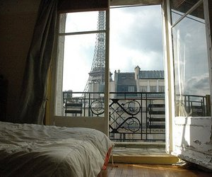 paris, bed, and eiffel tower image
