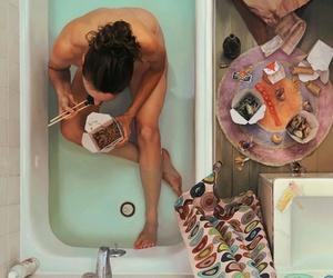 bath, food, and art image