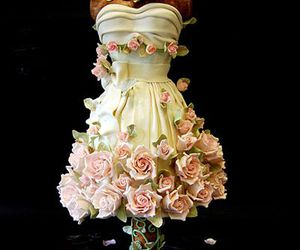 cake, dress, and flowers image