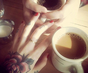 tattoo, coffee, and hands image