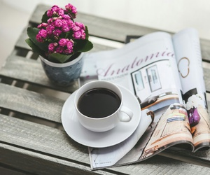 coffee, flowers, and magazine image