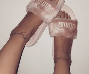 slides, ankle tattoos, and cute image