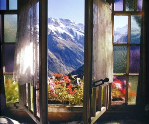 mountains, nature, and window image
