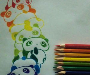 color, panda, and picture image