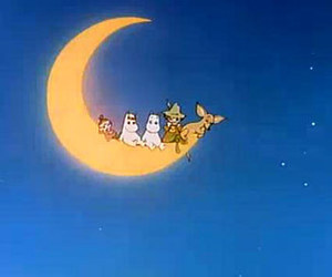 moomin, moon, and night image