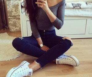 outfit, style, and converse image