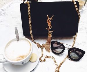 coffee, sunglasses, and YSL image