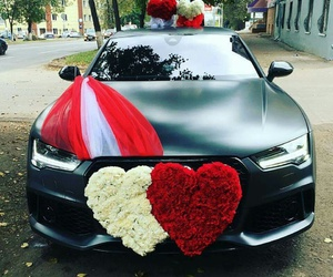 car, rose, and audi image