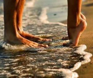 beach, couple, and kiss. image