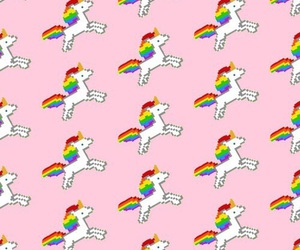 unicorn, pattern, and rainbow image
