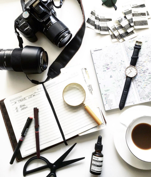 camera, coffee, and map image