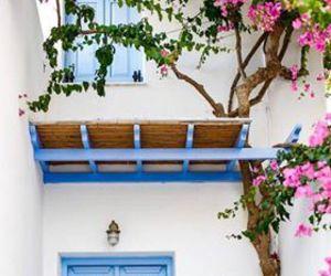 blue door, Greece, and travel image