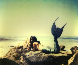 mermaid, sea, and beach image