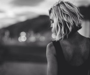 black and white, girl, and haïr image