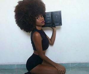 girl, Afro, and black image
