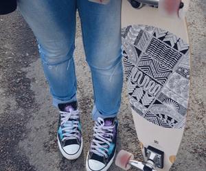 converse, galaxy, and longboard image