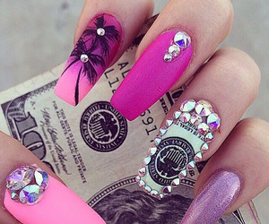 nails, pink, and money image