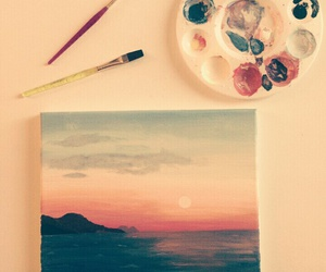 oceans, paintings, and sunset image