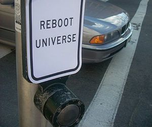 reboot, universe, and sign image