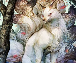 white, magical creatures, and night-tail fox image