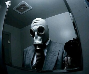 black, gas mask, and gray image