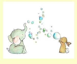 animals, bubbles, and bunny image