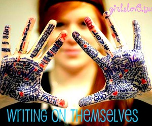 girl, hands, and words image