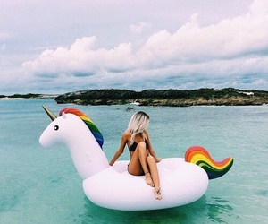 unicorn, summer, and girl image