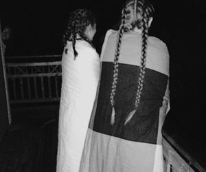 braids, girls, and night image