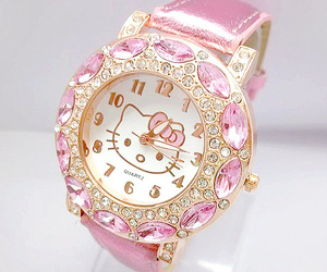 pink, hello kitty, and watch image