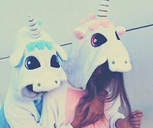 unicorn, friends, and blue image