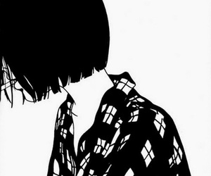 anime, black and white, and girl image