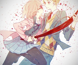 kyoukai no kanata, anime, and anime couple image