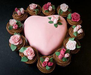 cake, heart, and cupcake image
