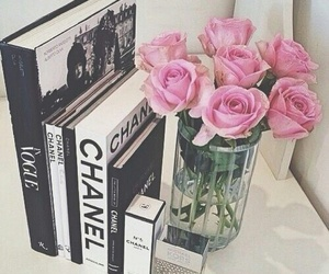 books, chanel, and flowers image