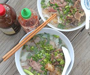 beef, noodles, and scallion image
