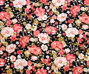 art prints, flower pattern, and pink and black image