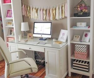 desk, room, and pink image