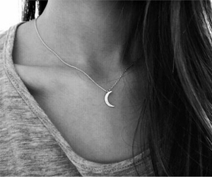 girl, moon, and necklace image