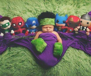 baby, Hulk, and super heroes image