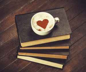 book, coffee, and heart image