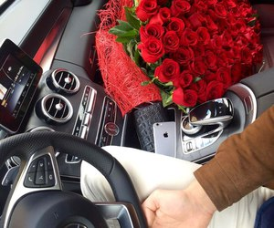 car, rose, and bouquet image