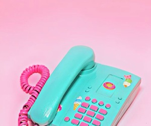 pink, phone, and blue image