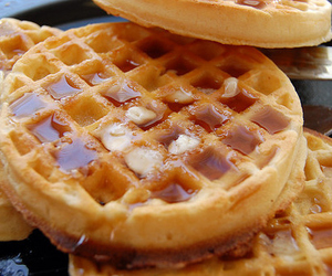 food, waffles, and delicious image